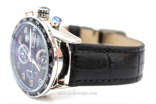 Tag Heuer Carrera Classic Black Crocodile Grain Leather Watch Strap