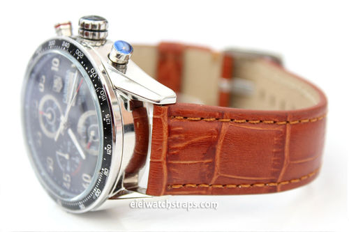 Tag Heuer Carrera Classic Brown Crocodile Grain Leather Watch Strap