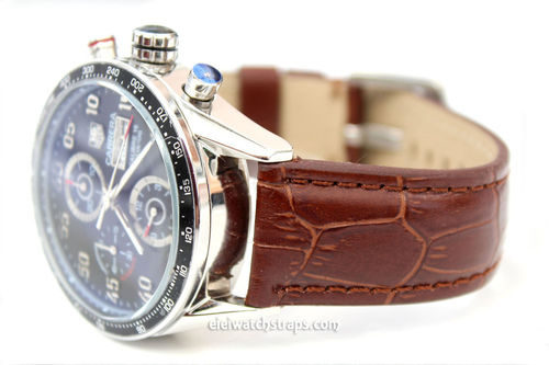 Tag Heuer Carrera Classic Dark Brown Crocodile Grain Leather Watch Strap
