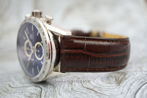 Oval Grain Crocodile Leather Watch Strap For Tag Heuer Carrera