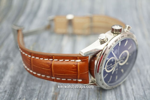 Deployment 22mm Brown Crocodile Leather Watch Strap For Tag Heuer Carrera