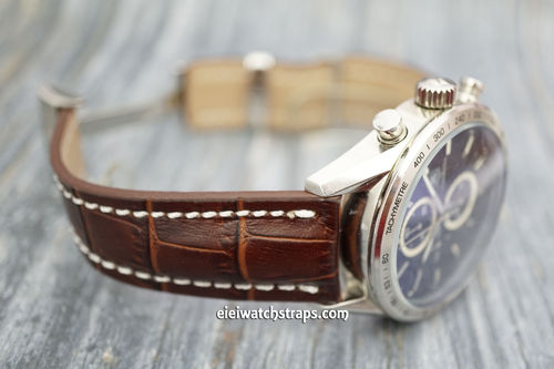 Deployment Dark Brown Crocodile Leather Watch Strap For Tag Heuer Carrera