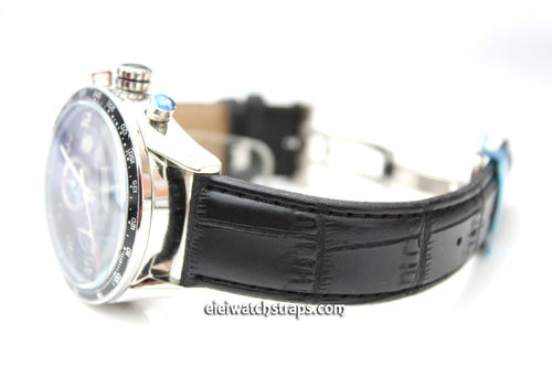 Classic Crocodile Grain Black Crocodile Watch Strap Butterfly Deployant Clasp For Tag Heuer Carrera