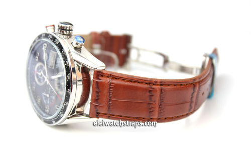 Classic Crocodile Grain Brown Crocodile Watchstrap For Tag Heuer Carrera