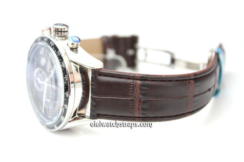 Classic Crocodile Grain Dark Brown Crocodile Watchstrap For Tag Heuer Carrera