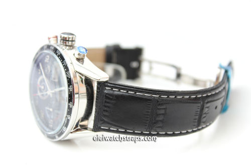 Classic Stitched Crocodile Grain Black Crocodile Watchstrap For Tag Heuer Carrera