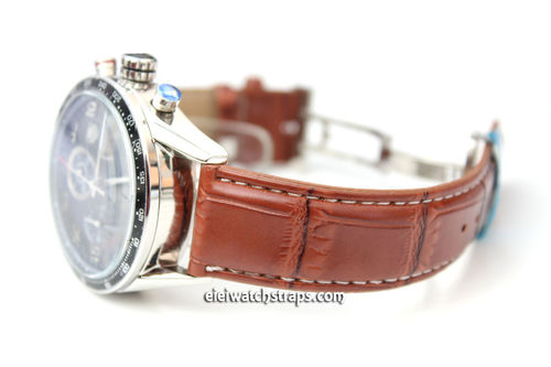 Classic Stitched Crocodile Grain Brown Crocodile Watchstrap For Tag Heuer Carrera