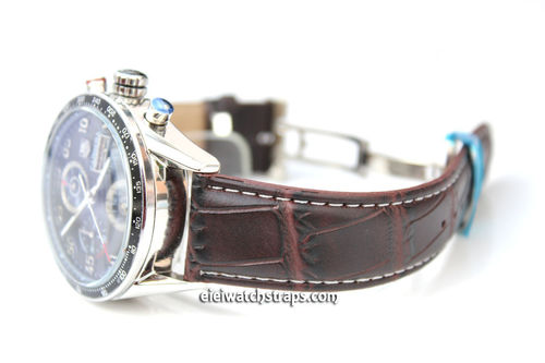 Classic Crocodile Dark Brown Crocodile Watchstrap For Tag Heuer Carrera
