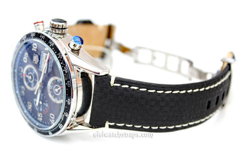 Carbon Fibre 22mm Black Leather White Stitching Watchstrap For Tag Heuer Carrera