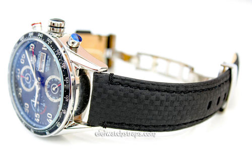 Carbon Fibre 22mm Black Leather Watchstrap For Tag Heuer Carrera