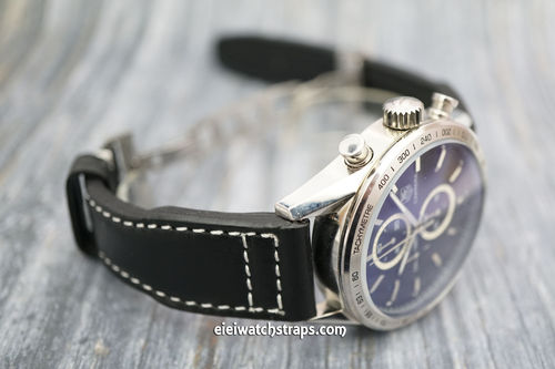 TAG Heuer CARRERA Aviator Hand Made 22mm Black Leather watch strap on Deployment Clasp