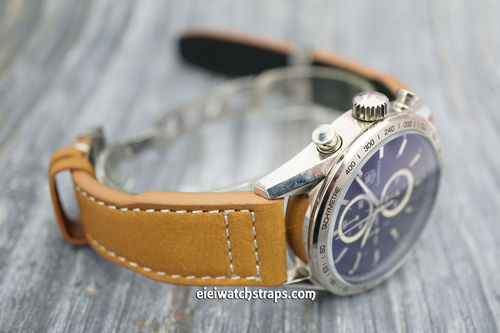TAG Heuer CARRERA Aviator Hand Made 22mm Tan Leather watch strap on Deployment Clasp