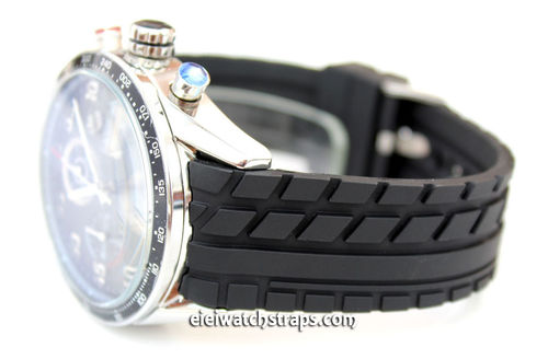 Tyre Tread Curved Lugs 22mm Rubber watchstrap Tag Heuer Carrera