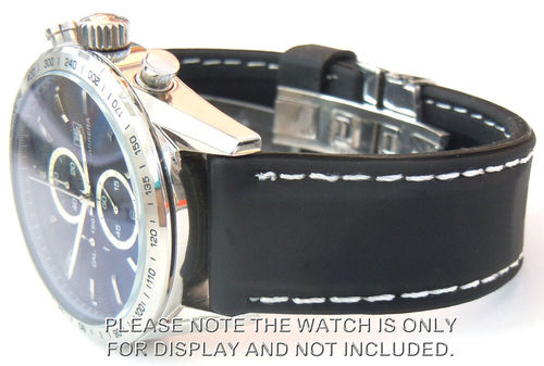 Silicon Rubber Watchstrap with White Stitched on Deployment For Tag Heuer Carrera