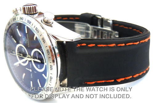 Silicon Rubber Watchstrap Orange Stitched on Deployment For Tag Heuer Carrera