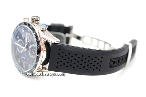 22mm Silicon Rubber Divers Watch Strap on Stainless Steel Deployment For Tag Heuer Carrera
