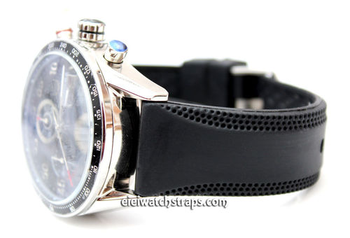 22mm Monza 22mm Silicon Rubber Divers Watch Strap on Deployment For Tag Heuer Carrera