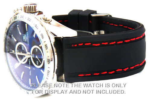 Navy Seal II 22mm Silicon Rubber Watch Strap Red Stitching Tag Heuer Carrera