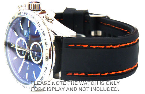 Navy Seal II 22mm Silicon Rubber Watch Strap Orange stitching For Tag Heuer Carrera