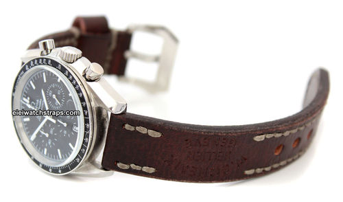 Geneva Handmade Vintage style Ammo leather watchstrap For Omega Speedmaster