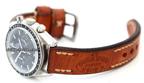 Zoss Handmade Vintage style Ammo leather watchstrap For Omega Speedmaster