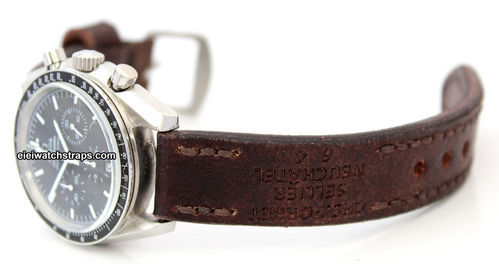 Potter Handmade Vintage style Ammo leather watchstrap for Omega Speedmaster