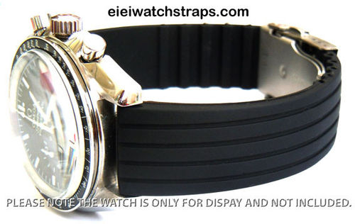 20mm Silicon Rubber Watch Strap with Stainless Steel Deployment For Omega Speedmaster