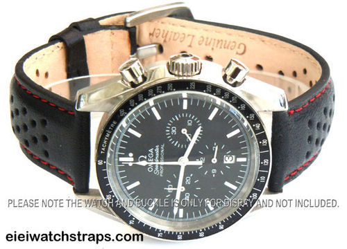 Rally Perforated RED Stitched Black Leather Watch Strap For Omega Speedmaster