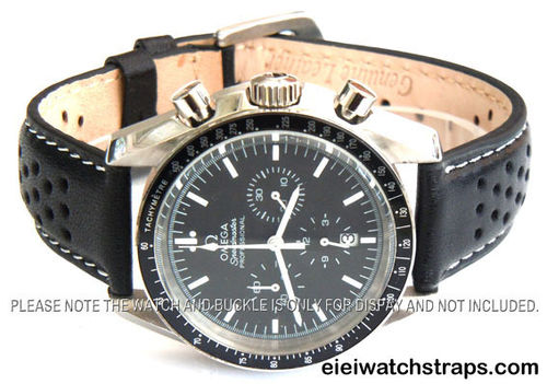 Rally Perforated WHITE stitched Black Leather Watch Strap For Omega Speedmaster