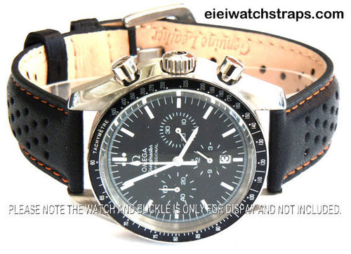 Rally Perforated ORANGE Stitched Black Leather Watch Strap For Omega Speedmaster