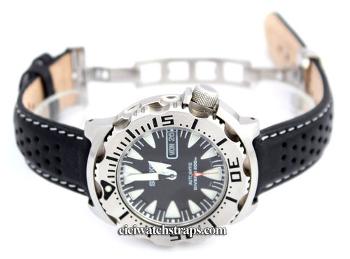 Perforated WHITE stitched Black Leather Watchstrap For Seiko Watches