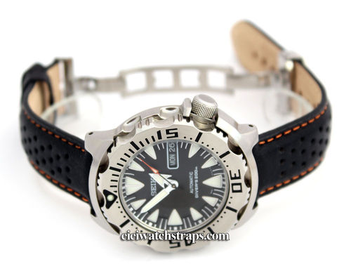 Perforated Orange Stitched Black Leather Watchstrap For Seiko Watches