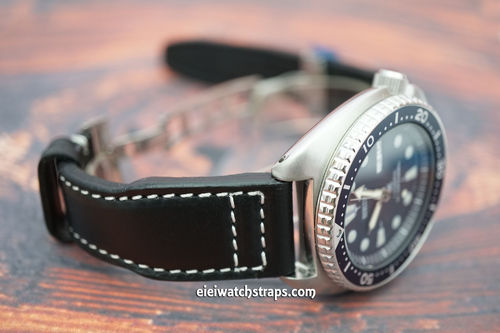 Aviator Hand Made Black 22mm Calf Leather Watch Strap For Seiko Watches