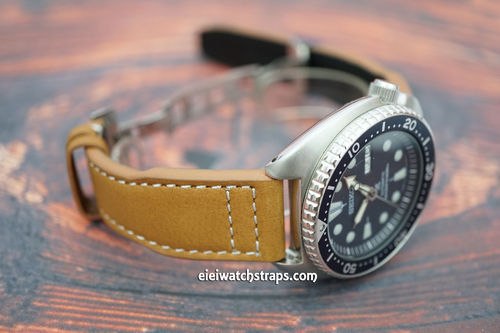 Aviator Hand Made Tan 22mm Calf Leather Watch Strap For Seiko Watches