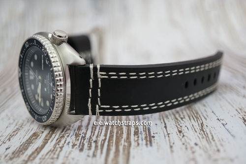 Double Stitched Black Leather Watch Strap Seiko Watches