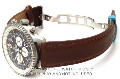 Dark Brown Leather Watchstrap on Deployant Clasp For Breitling Navitimer