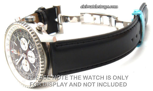 Black Leather Watch strap on butterfly deployant clasp For Breitling Navitimer