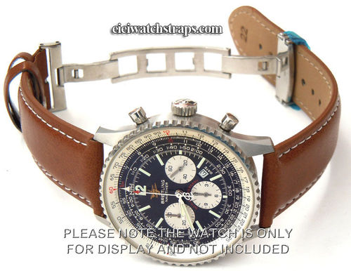 Brown Leather Watch strap White Stitching on butterfly deployant clasp For Breitling Navitimer