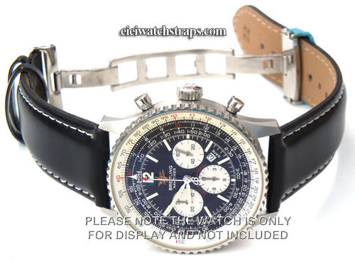 Black Leather Watch strap White Stitching on butterfly deployant clasp For Breitling Navitimer