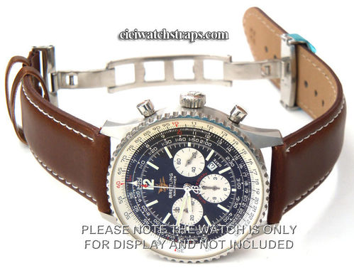 Dark Brown Leather Watchstrap White Stitching Butterfly Deployant Clasp For Breitling Navitimer