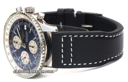 Double Thickness Aviator Hand Made 22mm Black Leather Watchstrap For Breitling Navitimer