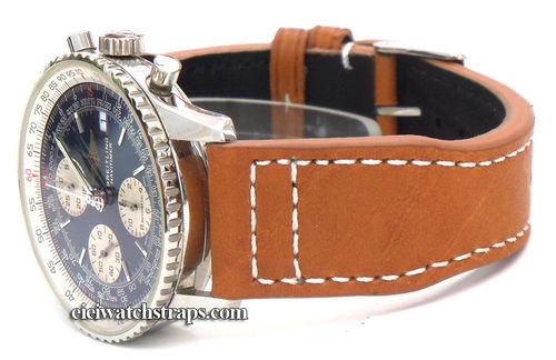 Double Thickness Aviator Hand Made 22mm Brown Leather Watchstrap For Breitling Navitimer