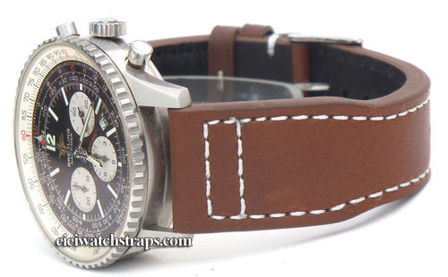 Double Thickness Aviator Hand Made 22mm Dark Brown Leather Watchstrap For Breitling Navitimer