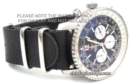 NATO Black Leather Watch Strap For Breitling Navitimer