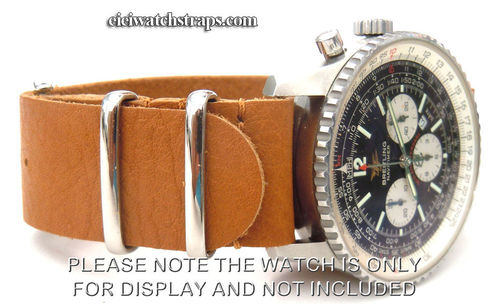 NATO Tan Leather Watchstrap For Breitling Navitimer