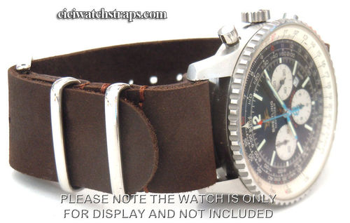 NATO Coffee Brown Leather Watchstrap For Breitling Navitimer