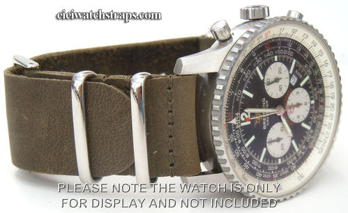 Green NATO Leather Watchstrap For Breitling Navitimer