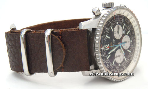Dark Brown NATO Leather Watchstrap For Breitling Navitimer