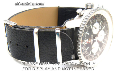 NATO Black Leather Watchstrap For Breitling Navitimer