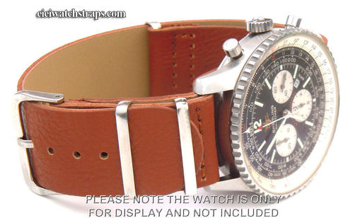 NATO Brown Leather Watchstrap For Breitling Navitimer